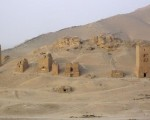 A view shows tower tombs in the Valley of Tombs, west of the historical city of Palmyra